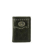 BLACK VEGAN LEATHER TOOLED BULL LONGHORN METAL EMBLEM STITCH MENS TRIFOLD ID WALLET WEST WOLF S-2246-6BLK