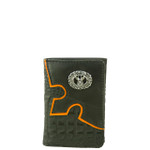 BLACK VEGAN ALLIGATOR LEATHER DEER METAL EMBLEM STITCH MENS TRIFOLD ID WALLET WEST WOLF S-2248-5BLK
