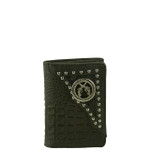 BLACK VEGAN ALLIGATOR LEATHER PISTOL METAL EMBLEM STITCH MENS TRIFOLD ID WALLET WEST WOLF S-2254-1BLK
