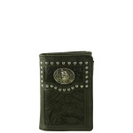 BLACK VEGAN TOOLED LEATHER WOLF METAL EMBLEM STITCH MENS TRIFOLD ID WALLET WEST WOLF S-2246-4BLK