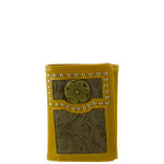 BROWN VEGAN LEATHER TOOLED .38 BULLET METAL EMBLEM STITCH MENS TRIFOLD ID WALLET WEST WOLF S-2246-2BRN