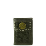 BLACK VEGAN LEATHER TOOLED .38 BULLET METAL EMBLEM STITCH MENS TRIFOLD ID WALLET WEST WOLF S-2246-2BLK