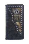 BLACK VEGAN TOOLED LEATHER CAMO DEER METAL EMBLEM MENS RODEO LONG BIFOLD WALLET WEST WOLF X-2245-5BLK