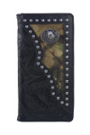 BLACK VEGAN TOOLED LEATHER CAMO WOLF METAL EMBLEM MENS RODEO LONG BIFOLD WALLET WEST WOLF X-2245-4BLK
