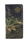 BLACK VEGAN CAMO LEATHER 12 GAUGE METAL EMBLEM LOGO MENS RODEO LONG BIFOLD WALLET WEST WOLF X-2249-13BLK