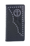 BLACK ALLIGATOR TOOLED LEATHER CROSS METAL EMBLEM LOGO MENS RODEO LONG BIFOLD WALLET WEST WOLF X-2248-9BLK