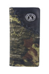 BLACK VEGAN LEATHER CAMO DEER METAL EMBLEM MENS RODEO LONG BIFOLD WALLET WEST WOLF X-2249-5BLK