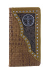 BROWN ALLIGATOR TOOLED LEATHER CROSS METAL EMBLEM LOGO MENS RODEO LONG BIFOLD WALLET WEST WOLF X-2248-9BRN