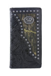 BLACK VEGAN TOOLED LEATHER SCORPION METAL EMBLEM MENS RODEO LONG BIFOLD WALLET WEST WOLF X-2245-3BLK