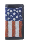 BLACK VEGAN LEATHER AMERICAN FLAG MENS RODEO LONG BIFOLD WALLET WEST WOLF X-2250BLK