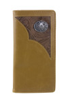 BROWN VEGAN LEATHER WOLF METAL EMBLEM MENS RODEO LONG BIFOLD WALLET WEST WOLF X-2253-4BRN