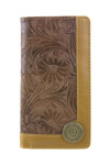 BROWN VEGAN TOOLED LEATHER 12 GAUGE METAL EMBLEM LOGO MENS RODEO LONG BIFOLD WALLET WEST WOLF X-2251BRN