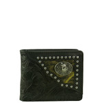 BLACK WESTERN VEGAN ALLIGATOR LEATHER WOLF METAL EMBLEM MENS SHORT BIFOLD ID WALLET WEST WOLF H-2245-4BLK