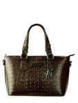 BROWN LUXURY CROCODILE VEGAN LEATHER HANDBAG M12H2243-BBRN