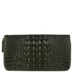 BLACK ALLIGATOR VEGAN LEATHER WRISTLET ZIPPER WALLET L2235BLK