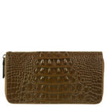 BROWN ALLIGATOR VEGAN LEATHER WRISTLET ZIPPER WALLET L2235BRN