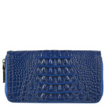 BLUE ALLIGATOR VEGAN LEATHER WRISTLET ZIPPER WALLET L2235BLU