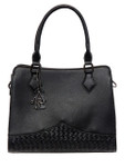 KADIE ASHMAN DAISY BLACK CHECKERED VEGAN LEATHER HANDBAG M22H2259BLK