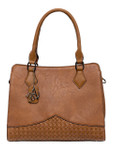 DAISY BROWN CHECKERED VEGAN LEATHER HANDBAG M22H2259BRN
