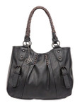 ELENA BLACK BUCKLE VEGAN LEATHER HANDBAG J99166BLK