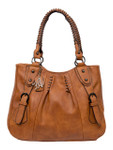 ELENA BROWN BUCKLE VEGAN LEATHER HANDBAG J99166BRN