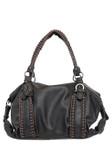 KIMBERLEY BLACK BUCKLE VEGAN LEATHER HANDBAG J99168BLK