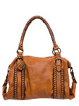 KIMBERLEY BROWN BUCKLE VEGAN LEATHER HANDBAG J99168BRN