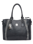 KADIE ASHMAN KATELYN BLACK CHECKERED VEGAN LEATHER HANDBAG J88213BLK