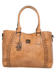 KATELYN BROWN CHECKERED VEGAN LEATHER HANDBAG J88213BRN