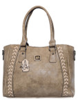 KATELYN GRAY CHECKERED VEGAN LEATHER HANDBAG J88213GRY