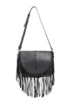 EMMA BLACK FRINGE CLASP VEGAN LEATHER SATCHEL MESSENGER BAG D092BLK
