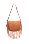 EMMA BROWN FRINGE CLASP VEGAN LEATHER SATCHEL MESSENGER BAG D092BRN