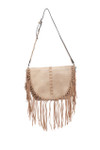 EMMA GRAY FRINGE CLASP VEGAN LEATHER SATCHEL MESSENGER BAG D092GRY