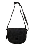 MAY BLACK BRAIDED CLASP VEGAN LEATHER SATCHEL MESSENGER BAG 8267BLK
