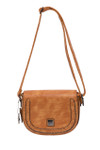MAY BROWN BRAIDED CLASP VEGAN LEATHER SATCHEL MESSENGER BAG 8267BRN