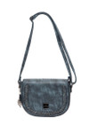 MAY NAVY BRAIDED CLASP VEGAN LEATHER SATCHEL MESSENGER BAG 8267NVY