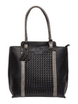 KADIE ASHMAN PAIGE BLACK WEAVE CONCEALED CARRY VEGAN LEATHER TOTE HANDBAG J99201BLK