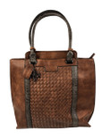KADIE ASHMAN PAIGE BROWN WEAVE CONCEALED CARRY VEGAN LEATHER TOTE HANDBAG J99201BRN