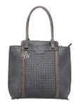 KADIE ASHMAN PAIGE GRAY WEAVE CONCEALED CARRY VEGAN LEATHER TOTE HANDBAG J99201GRY