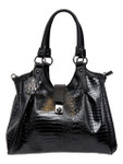 KADIE ASHMAN APRIL BLACK CROCODILE CONCEALED CARRY VEGAN LEATHER HANDBAG D119BLK