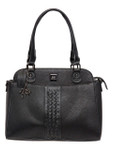 KADIE ASHMAN STELLA BLACK BRAIDED CONCEALED CARRY VEGAN LEATHER HANDBAG H2241BLK
