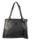 KADIE ASHMAN MONTANA BLACK STUDDED ZIPPER CONCEALED CARRY VEGAN LEATHER HANDBAG H2237BLK