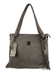 KADIE ASHMAN MONTANA GRAY STUDDED ZIPPER CONCEALED CARRY VEGAN LEATHER HANDBAG H2237GRY
