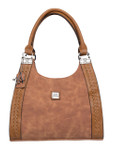 KADIE ASHMAN  MOLLY BROWN BRAIDED CONCEALED CARRY VEGAN LEATHER HANDBAG J99202BRN