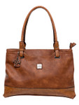 KADIE ASHMAN KASSIDY BROWN CROCODILE CONCEALED CARRY VEGAN LEATHER HANDBAG J99200BRN