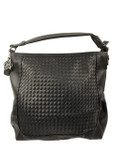 KADIE ASHMAN LAYLA BLACK WEAVE  CONCEALED CARRY VEGAN LEATHER HANDBAG J55017BLK