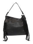 KADIE ASHMAN JODY BLACK SIDE FRINGE VEGAN LEATHER HANDBAG 8257BLK