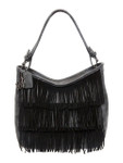 KADIE ASHMAN TONYA BLACK FRINGE VEGAN LEATHER HANDBAG D090BLK