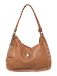 KADIE ASHMAN KELSEY BROWN STUDDED BRAIDED STRAP CONCEALED CARRY VEGAN LEATHER HANDBAG 8272BRN