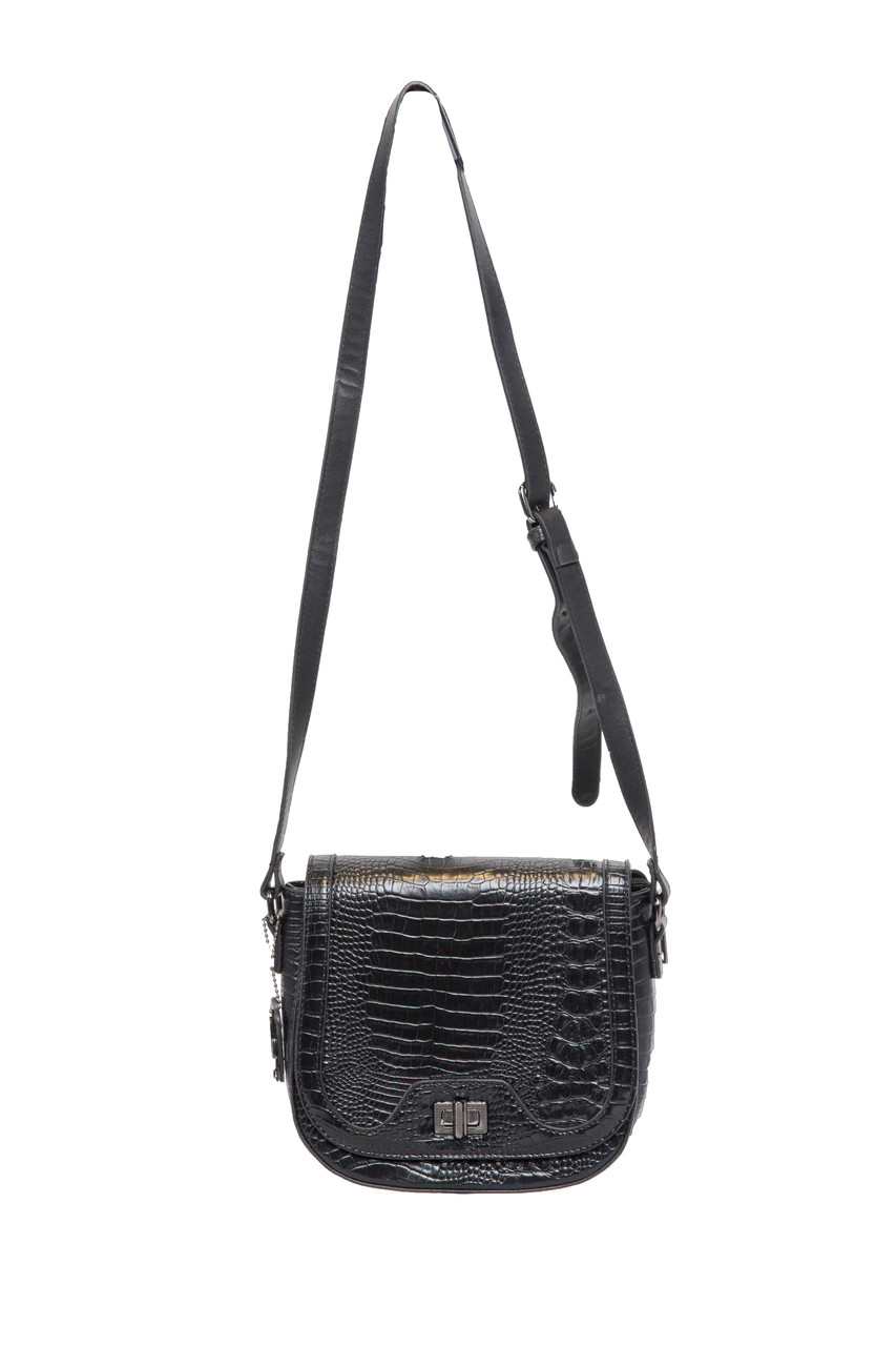 5b6ddfa70d3 KADIE ASHMAN SOPHIA BLACK ALLIGATOR VEGAN LEATHER SATCHEL MESSENGER BAG  J99122BLK